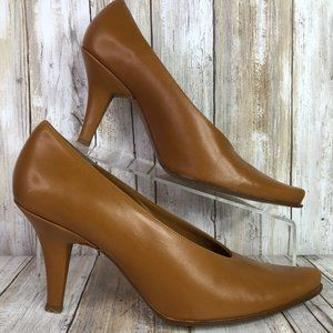 BCBGMaxAzria Brown Leather Pointed Toe Dress Pumps